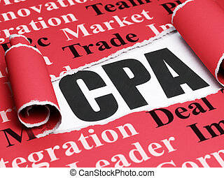 Finance concept: black text CPA under the piece of torn...