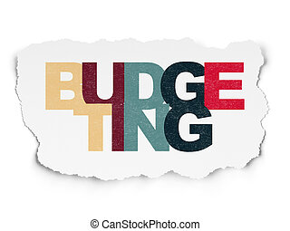 Finance concept: Budgeting on Torn Paper background
