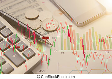 finance., concept, business, calculatrice, graphique, argent, stylo