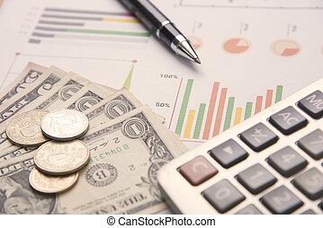 finance., concept, business, calculatrice, graphique, argent, stylo, stockage