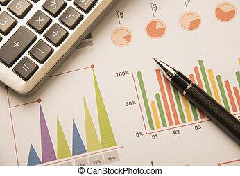finance., concept, business, calculatrice, graphique, stylo, stockage