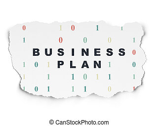 Finance concept: Business Plan on Torn Paper background