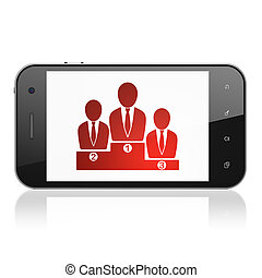 Finance concept: Business Team on smartphone