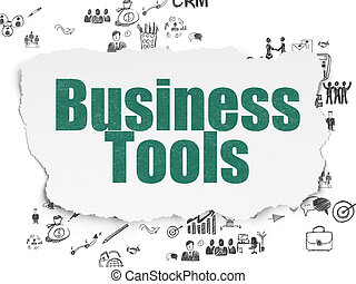Finance concept: Business Tools on Torn Paper background