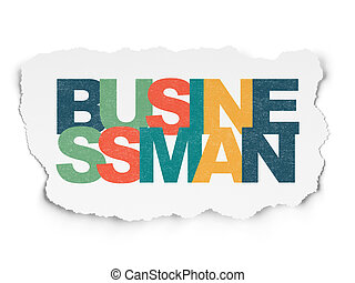 Finance concept: Businessman on Torn Paper background