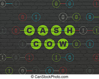 Finance concept: Cash Cow on wall background