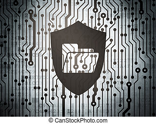 Finance concept: circuit board with Folder With Shield