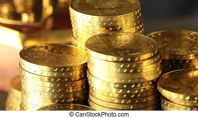 Finance Concept, coins - Coins and gold- Finance Concept