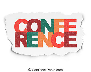 Finance concept: Conference on Torn Paper background