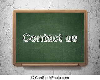Finance concept: Contact us on chalkboard background