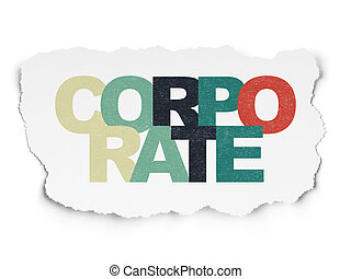 Finance concept: Corporate on Torn Paper background