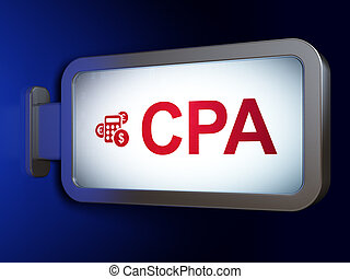 Finance concept: CPA and Calculator on billboard background