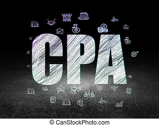 Finance concept: CPA in grunge dark room - Finance concept:...