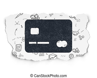 Finance concept: Credit Card on Torn Paper background