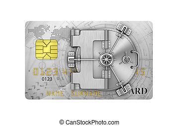 Finance concept. Credit card with safe door. 3d illustration