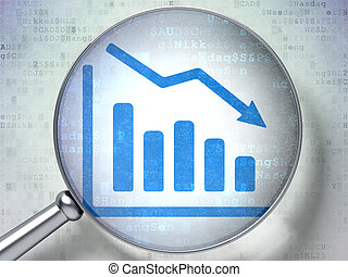 Finance concept: magnifying optical glass with Decline Graph icon on digital background, 3d render