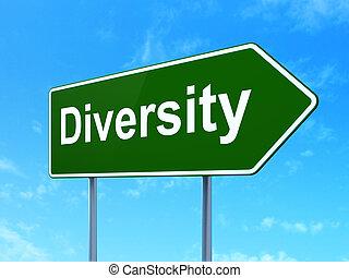 Finance concept: Diversity on road sign background