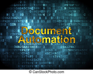 Finance concept: Document Automation on digital background -...