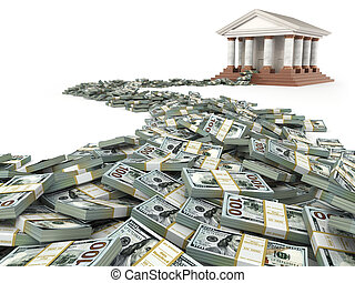 Finance concept. Dollars and bank building.