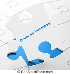 Finance concept: Drum up business on puzzle background