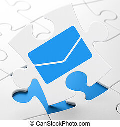 Finance concept: Email on puzzle background