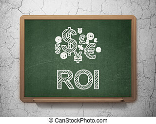 Finance concept: Finance Symbol icon and text ROI on Green...