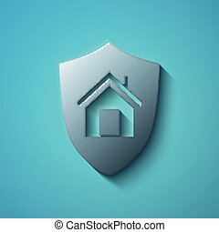 Finance concept: flat metallic Shield icon, vector