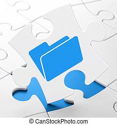Finance concept: Folder on puzzle background