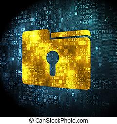 Finance concept: Folder With Keyhole on digital background -...