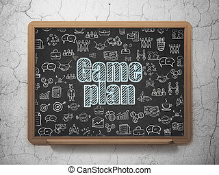 Finance concept: Game Plan on School board background