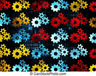 Finance concept: Gears icons on Digital background