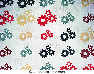 Finance concept: Gears icons on Digital Paper background
