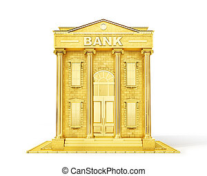 Finance concept. Gold bank isolated on a white. 3d illustration