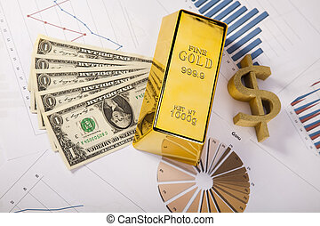 Finance Concept, Gold bar - Financial indicators,Chart,Gold...