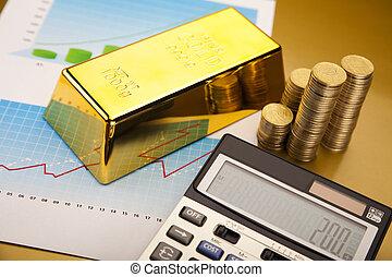 Finance Concept - Gold Ingot on a Chart