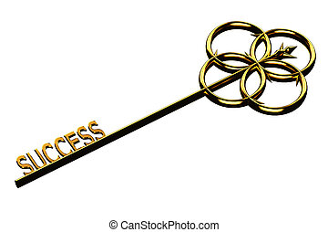 Finance concept: golden key with the word success isolated on white background