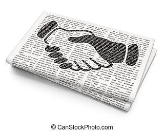 Finance concept: Handshake on Newspaper background