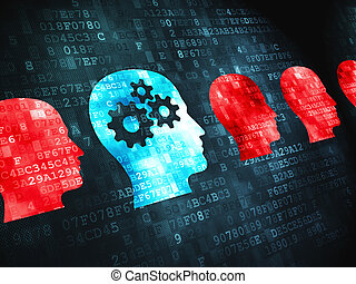 Finance concept: Head Whis Gears on digital background