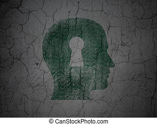 Finance concept: Head With Keyhole on grunge wall background