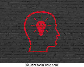 Finance concept: Head With Lightbulb on wall background