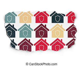 Finance concept: Home icons on Torn Paper background