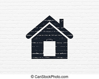 Finance concept: Home on wall background