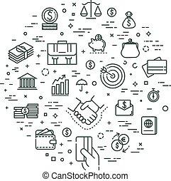 finance concept illustration, line design vector template