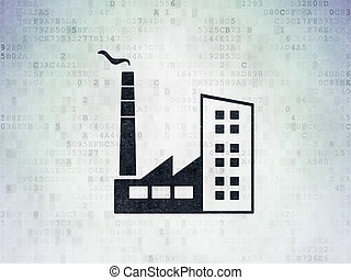Finance concept: Industry Building on Digital Data Paper background