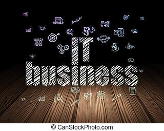 Finance concept: IT Business in grunge dark room