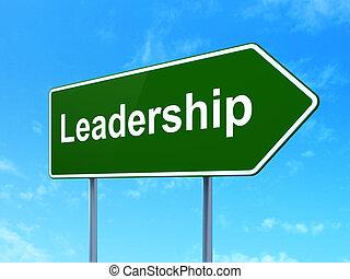 Finance concept: Leadership on road sign background