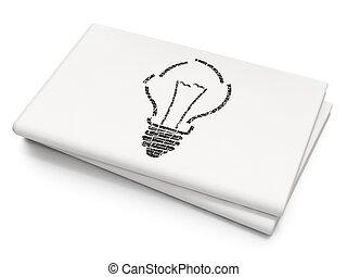 Finance concept: Light Bulb on Blank Newspaper background