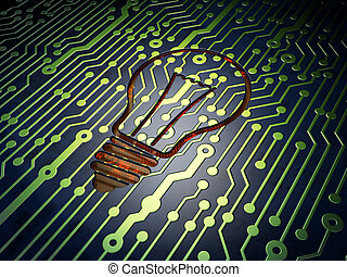 Finance concept: Light Bulb on circuit board background