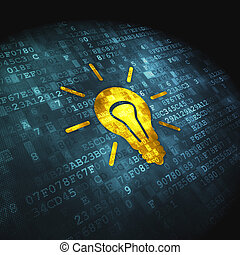 Finance concept: pixelated Light Bulb icon on digital background, 3d render