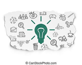 Finance concept: Painted green Light Bulb icon on Torn Paper background with Hand Drawn Business Icons, 3d render